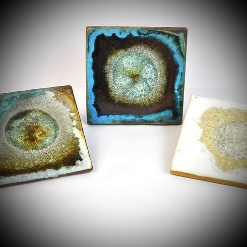Square fused glass coaster (one)