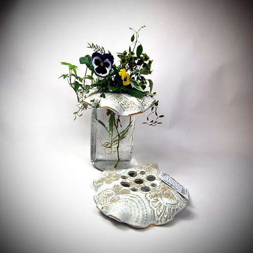 Antique White Flower Frog, large
