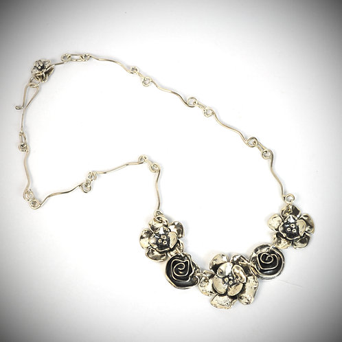 Rosewood Flower Garden necklace on signature chain