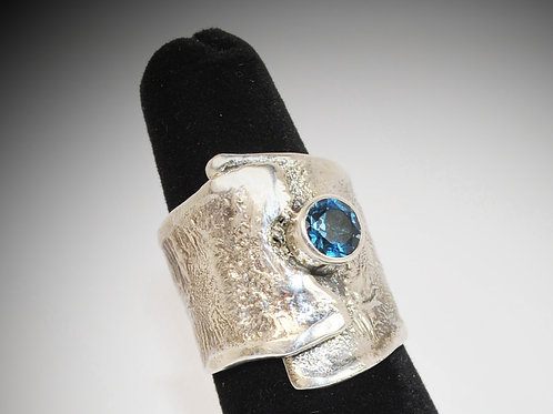 Reticulated Silver Ring with London Blue Topaz