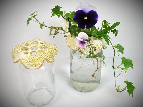 Antique White Flower Frog, standard mouth med.