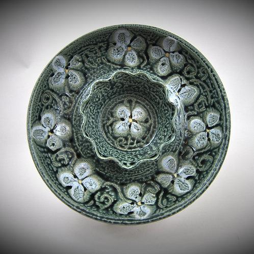 Veggie and Dip bowl  in Ash Blue glaze