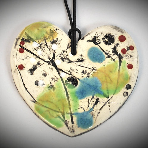 Clay Fossil Heart Ornament