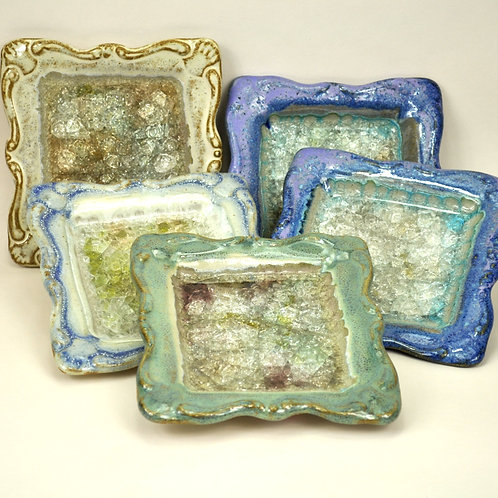 Stoneware Tray with Fused Glass