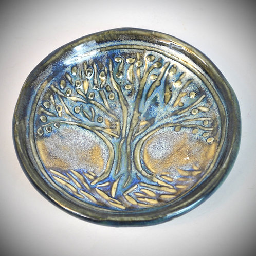 Small dish with Tree Design in Blue