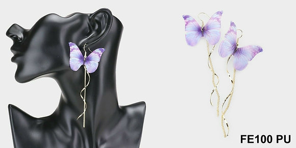 Butterfly Accented Metal Chain Drop Earrings