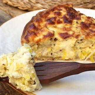 Tarta de puerros con queso de cabra
