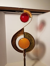 """Red and Orange Movement, 25"""" Tall Copper and Glass"""