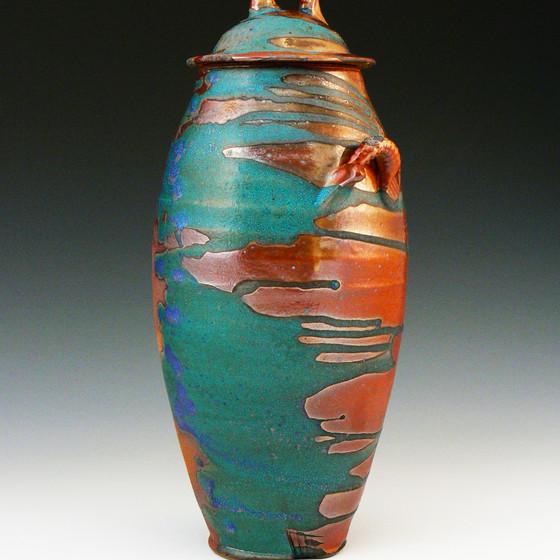 Shino and Lithium Blue Lidded Jar