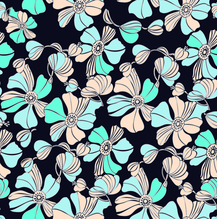 Fleurs 70 - green/black