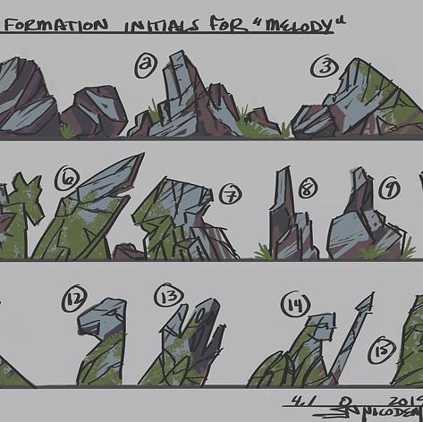 """Initial Rock Designs for Closeup Rock in """"Melody"""""""