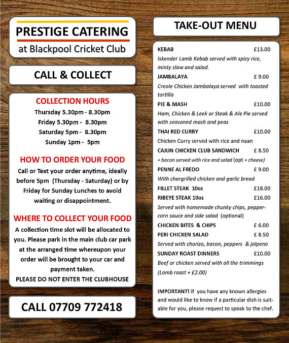 Call and Collect Menu