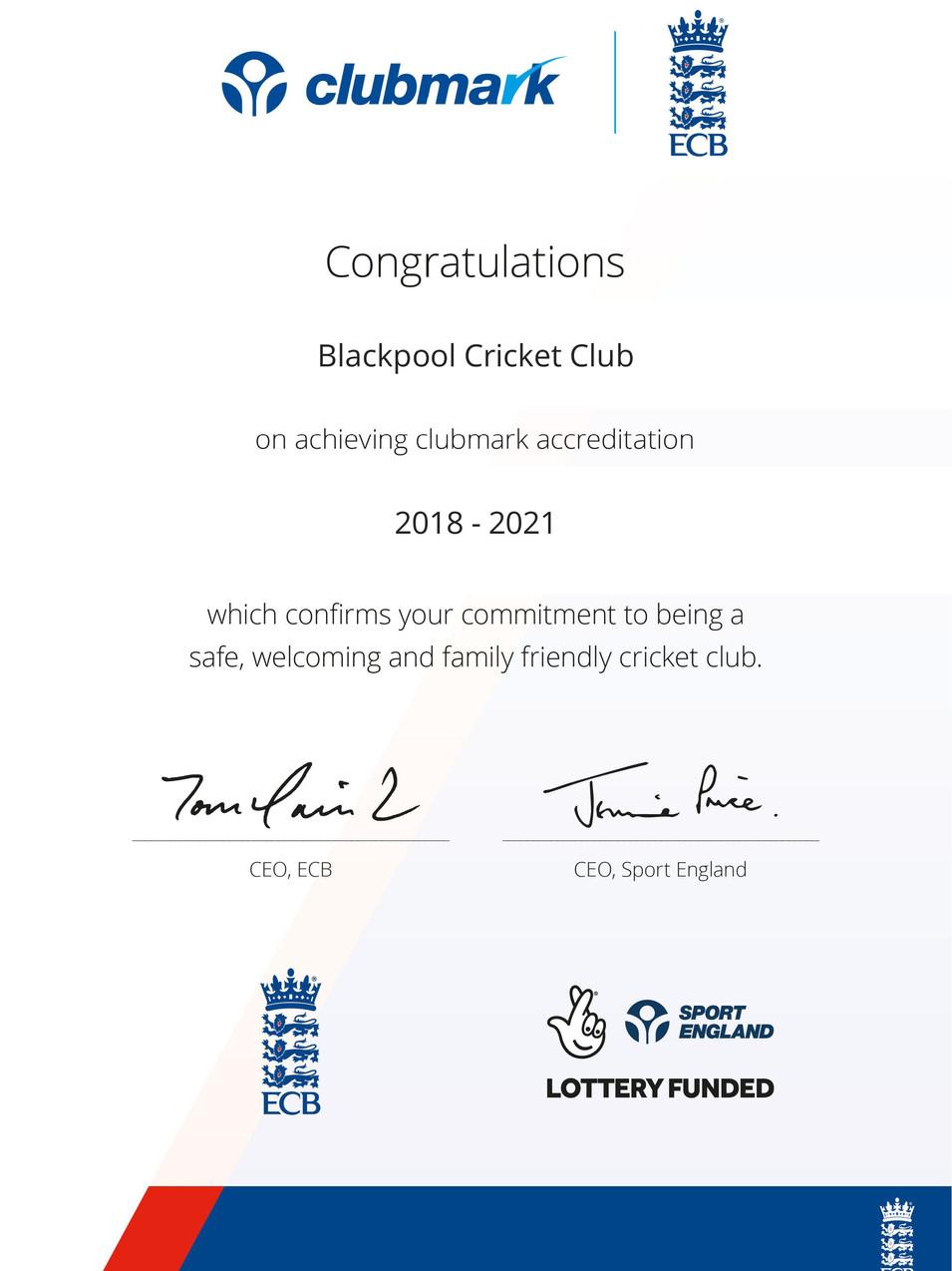 Blackpool Cricket Club Clubmark