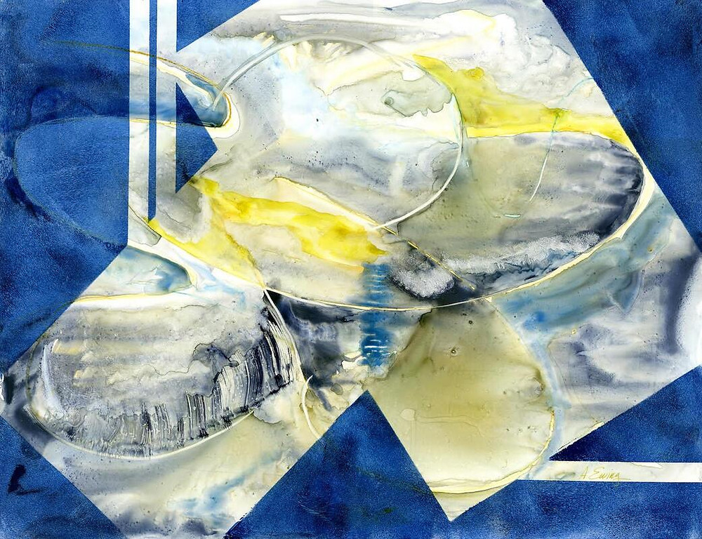 Abstract painting with pops of yellow, white, and black on varigated blue field