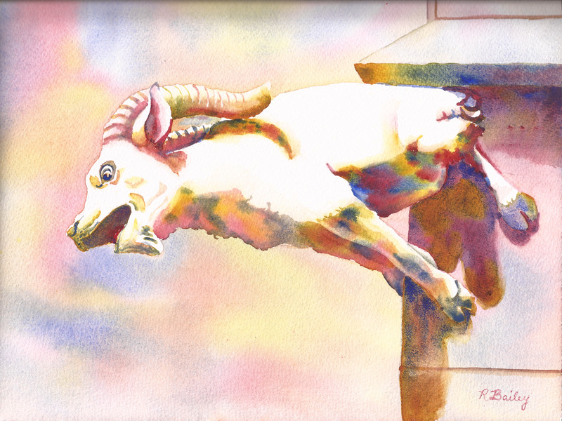 """""""Ulm Gargoyle"""" watercolor painting by Ruth Bailey"""