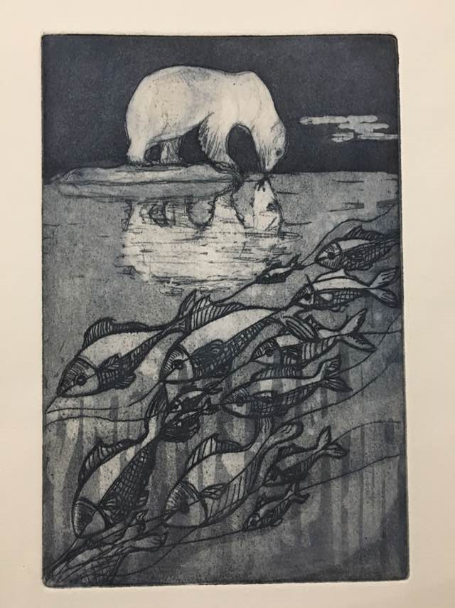 Print featuring a polar bear and a river flowing with fish