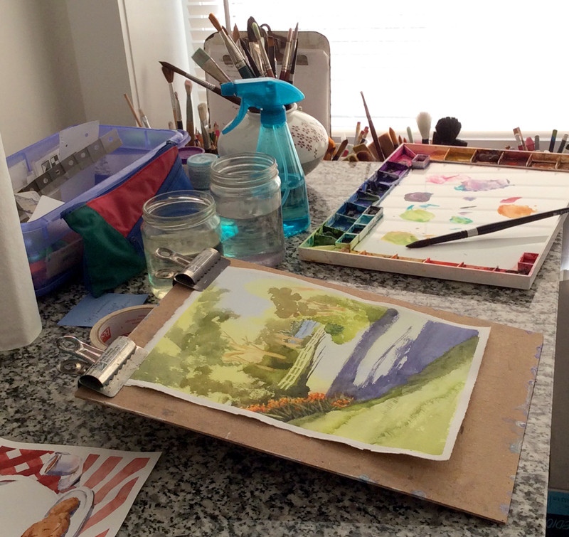 The watercolor studio of artist Ruth Bailey
