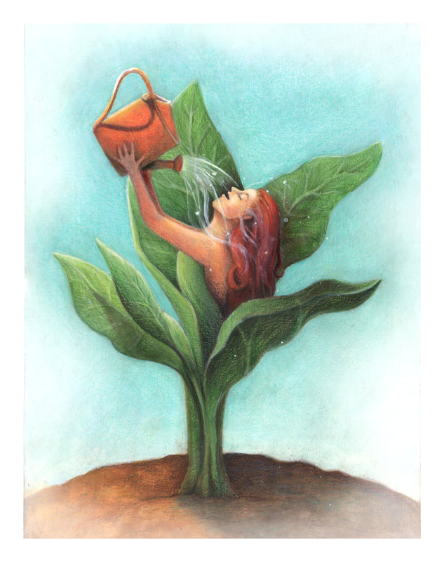 Image of a human as a plant, using a watering can to replenish itself.