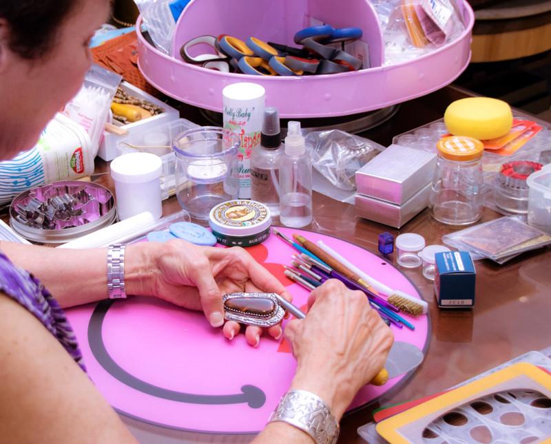 Linda Donahue at work in her studio