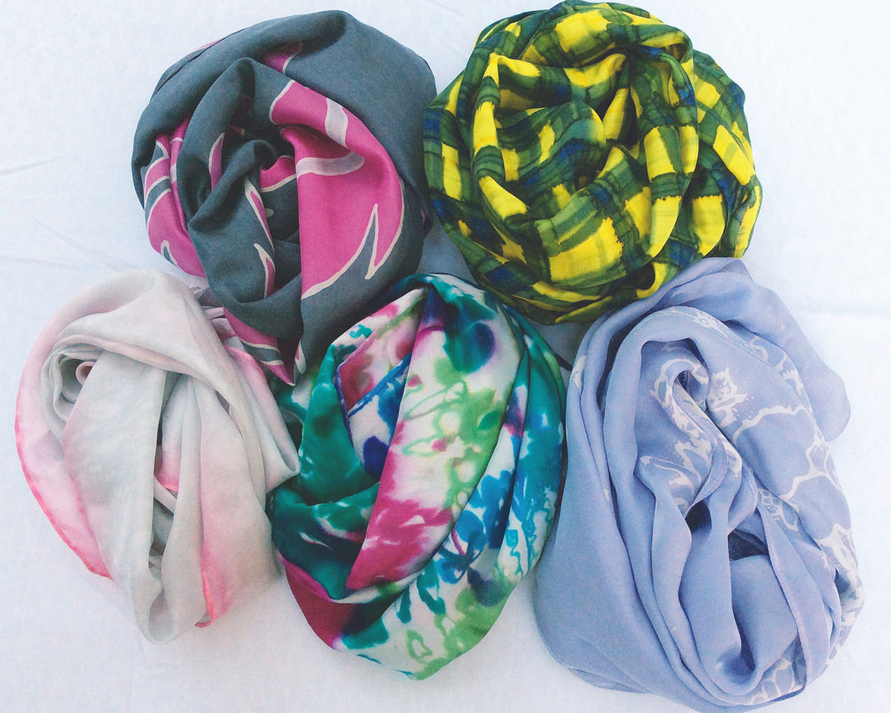 Painted silk fabrices by Lynne Gessner