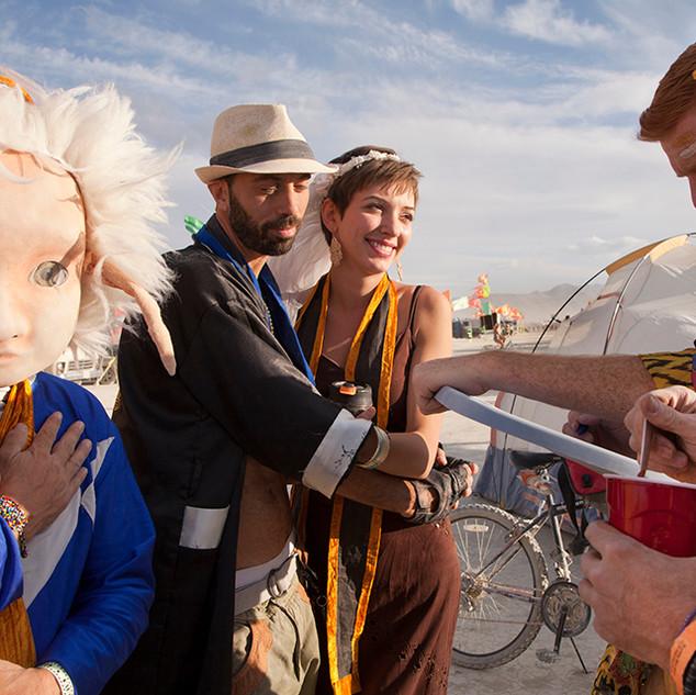 Burning Man wedding of Roxy and Mau