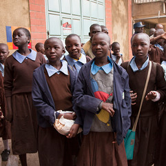 Nairobi school girls waiting for a parade