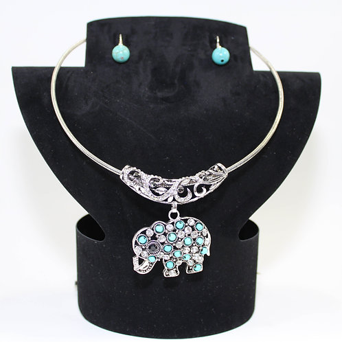 Omega Necklace Set with Turquoise and Crystal Elep