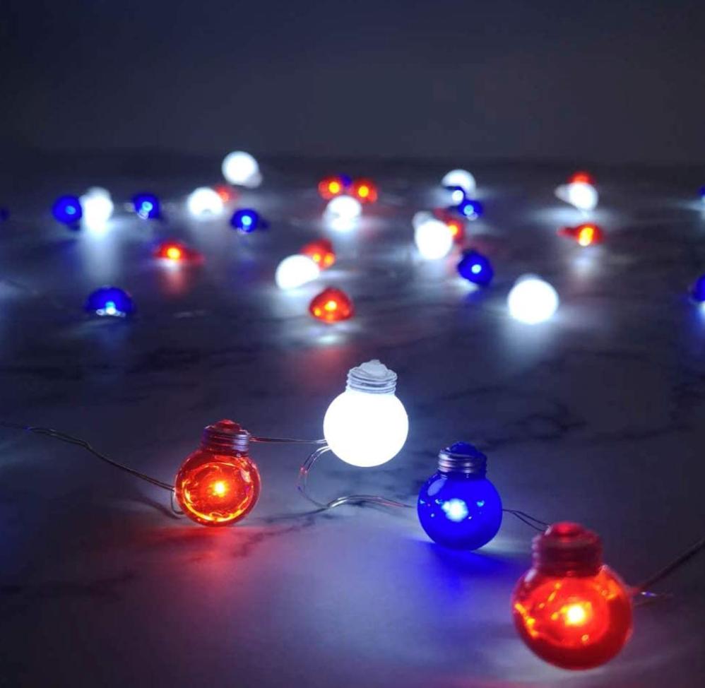 Red, White, Blue, Globe String Garden Lights