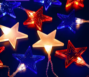 Red, White, Blue Outdoor Star Lights
