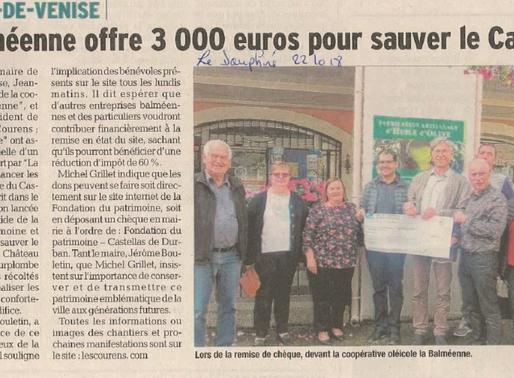 La Balméenne offre 3000 euros pour sauver le Castellas