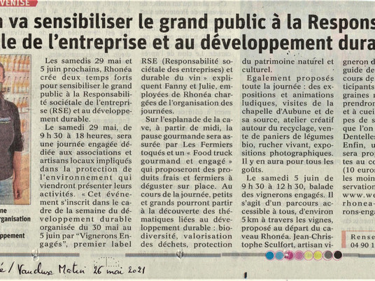 Rhonéa sensibilise le grand public à la RSE et au développement durable