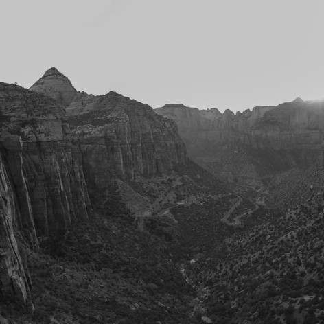 This photo was taken at an overlook at Zion National Park. I like how the black and white helps to add focus to the details of the canyon.