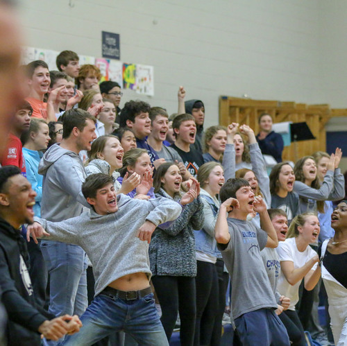 I took this shot of the student section right after a call by the referee. I like how you're able to see the excitement of so many people in one shot.
