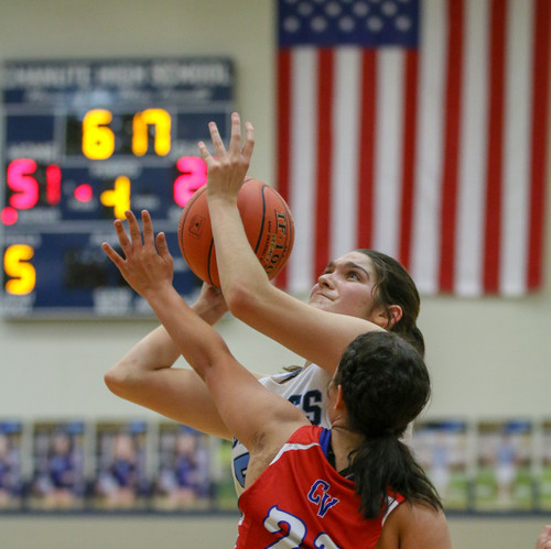 I chose to include this girls basketball photo as the composition is great but also the background of the scoreboard and flag help to add to the shot.