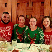 Holiday party ugly sweater twins!