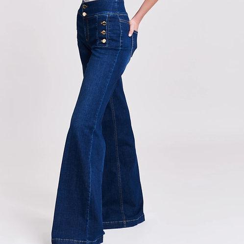 Jeans wide leg con botones