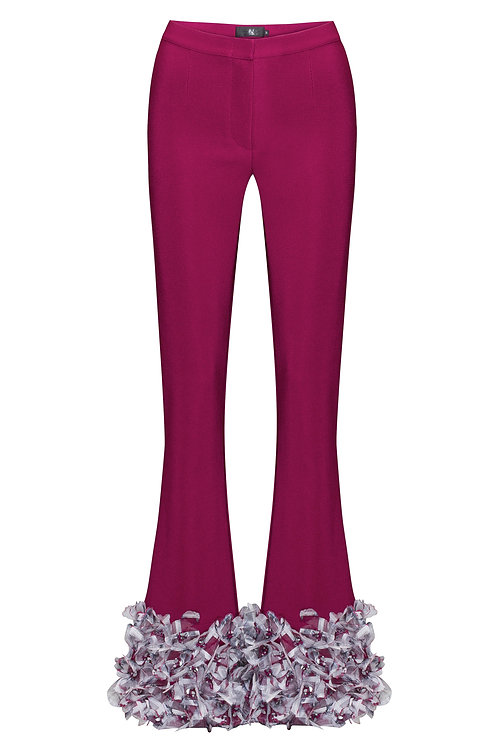 3D FLOWER EMBROIDERED BELL-BOTTOM MID RISE PANTS