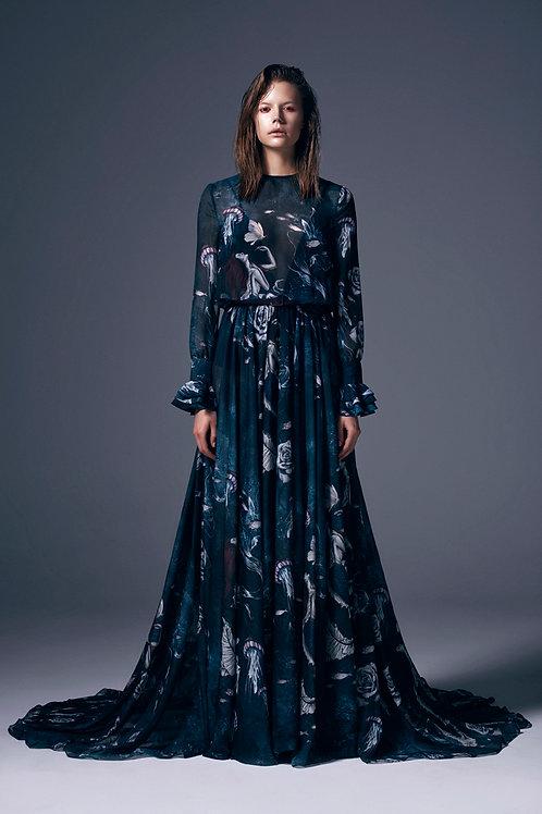 BELT DETAILED FLOUNCE MAXI DRESS