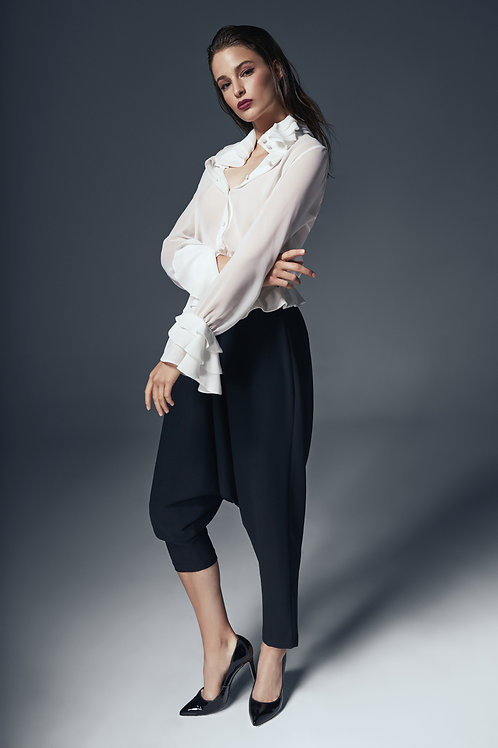 FLOUNCED DETAILED BAGGY TROUSERS