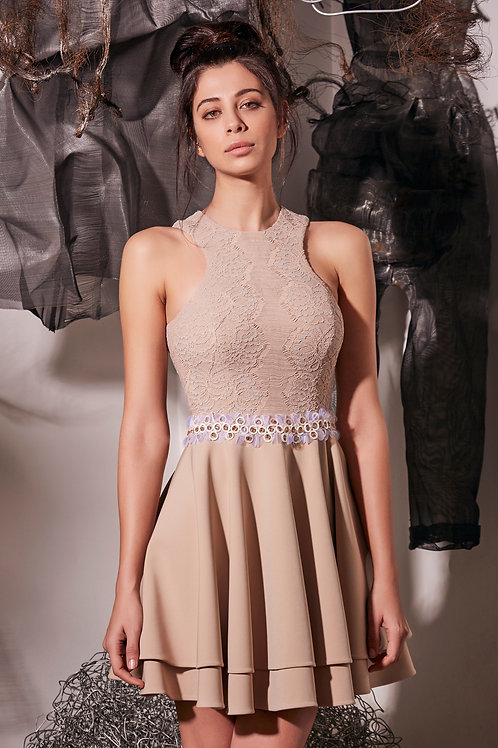 HAND BEAD DETAILED MINI OCCASION DRESS