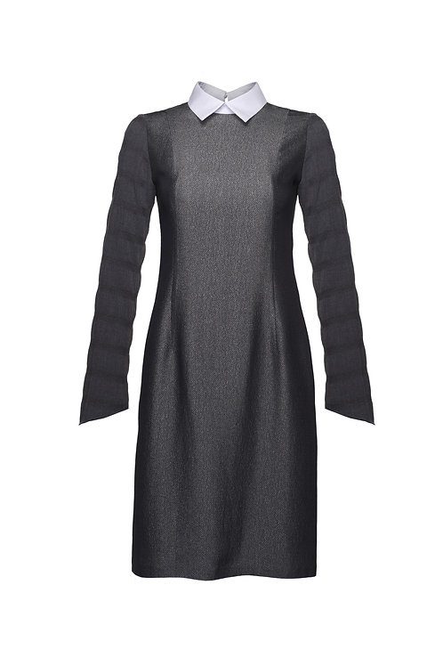 ASYMETRICAL SLEEVE MIDI DRESS WITH COLLAR DETAILED
