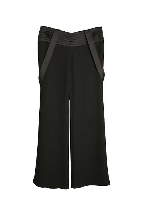 PLEATED MID-RISE STRAPPY PANTS