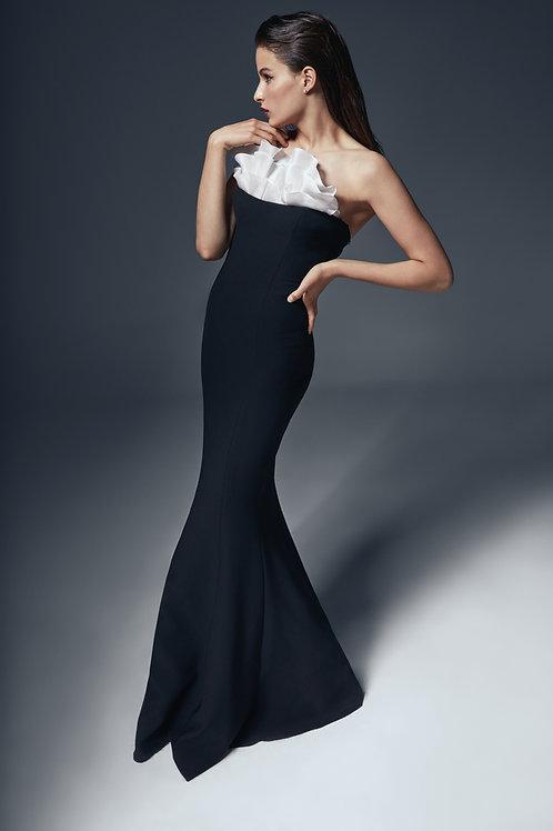 BLACK GODET MULTI DRESS