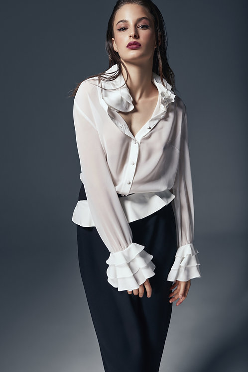 FLOUNCED COLLAR AND CUFF DETAILED SHIRT