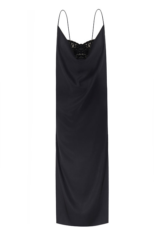 SATIN NIGHTGOWN WITH VELVET LACE BUSTIER