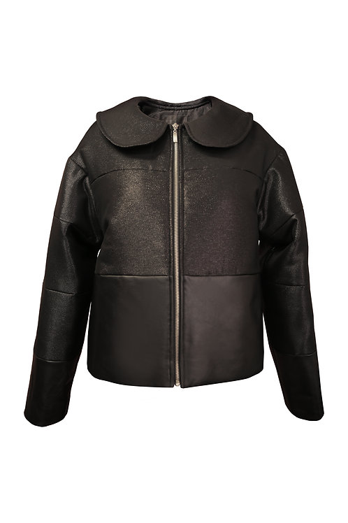 LEATHER DETAILED BOMBER JACKET