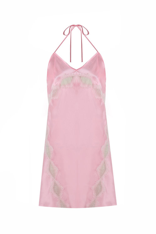 LACE DETAILED 100% SILK NIGHTGOWN
