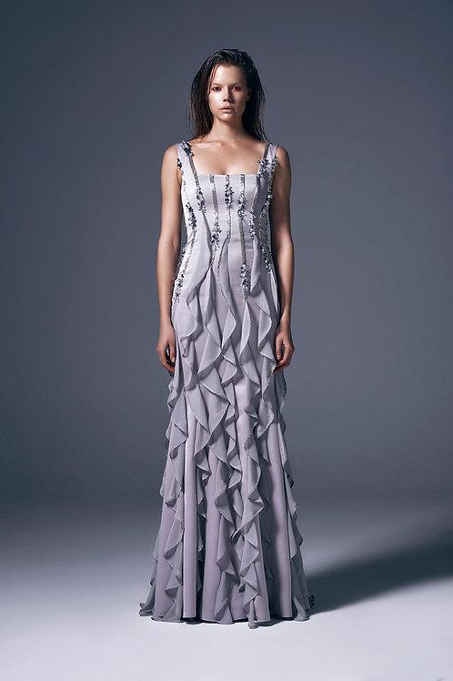 HANDBEADED FRILL DETAILED MAXI DRESS