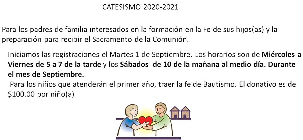 2020-2021 Catechetical Classes Spanish.j