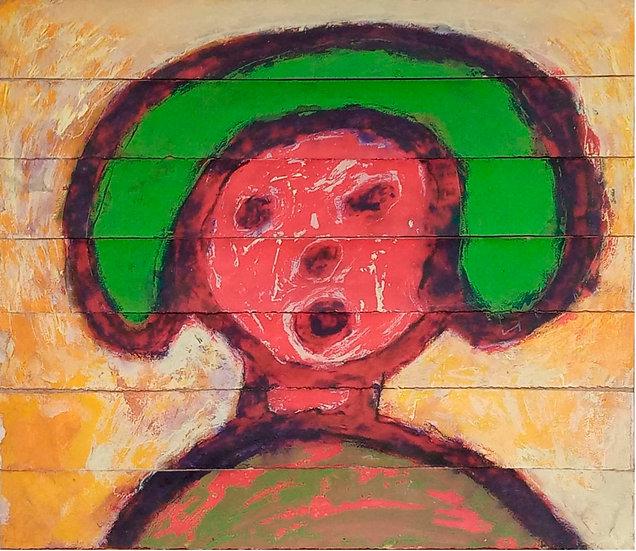 Cara en rojo y verde